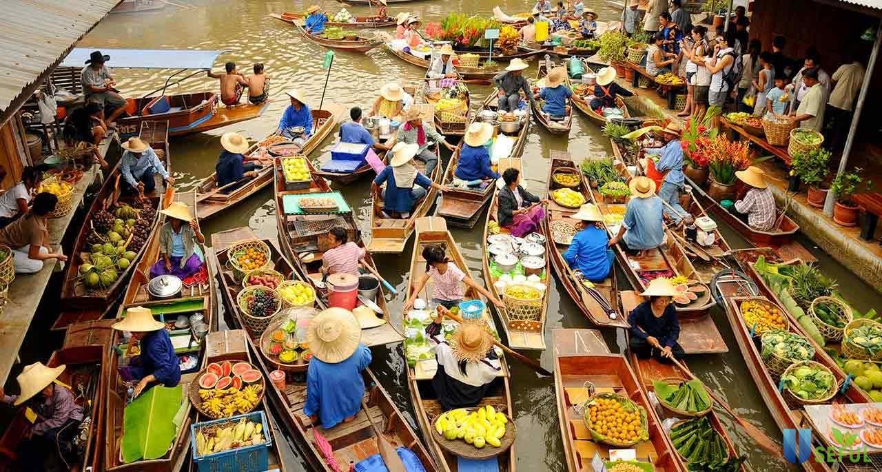 Chợ nổi gần Bangkok luôn thu hút nhiều khách du lịch