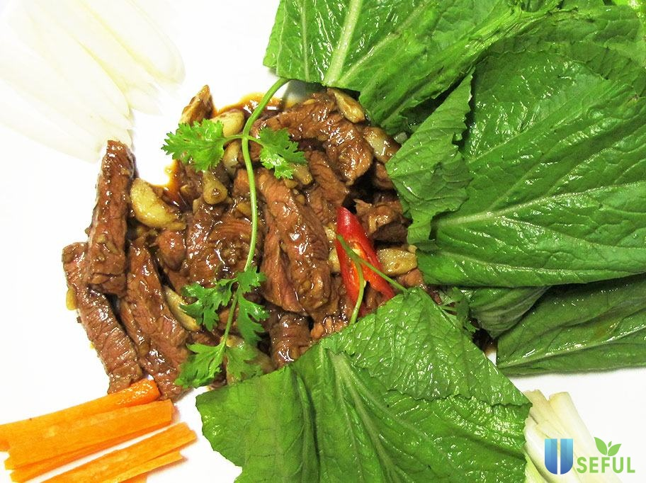 Thịt bò nướng cải ngựa - món ngon siêu lạ miệng