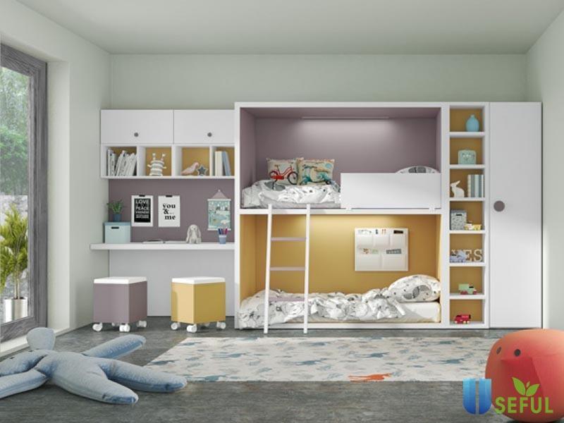 Giường tầng kết hợp quần áo trẻ em (Nguồn: adayroi.com)