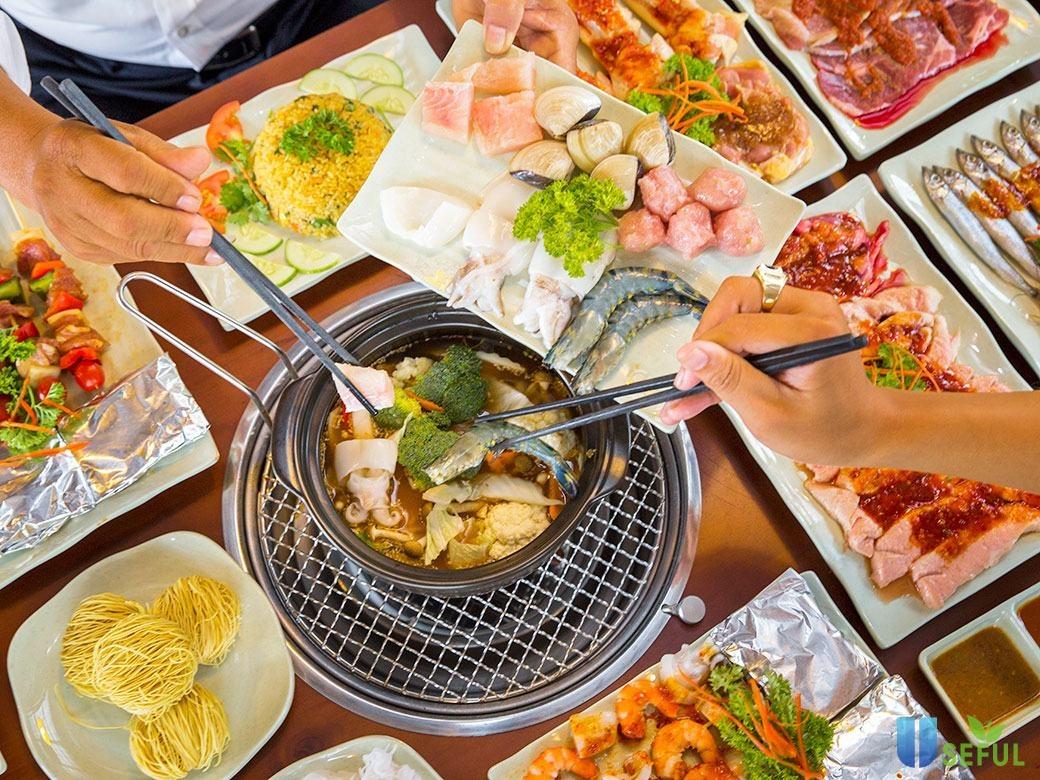 Thưởng thức buffet lẩu nướng vào buổi trưa tại nhà hàng Dìn Ký