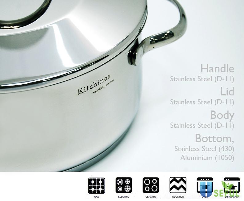 Bộ nồi Kitchinox có mẫu mã đẹp, nhiều kích thước nấu cho người dùng lựa chọn