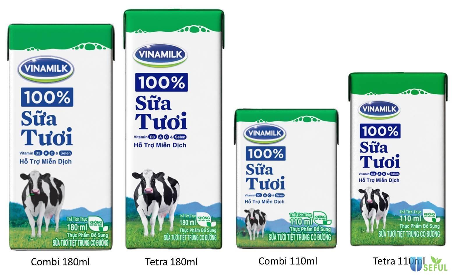 Sữa tươi Vinamilk rất giàu vitamin A, C, D3