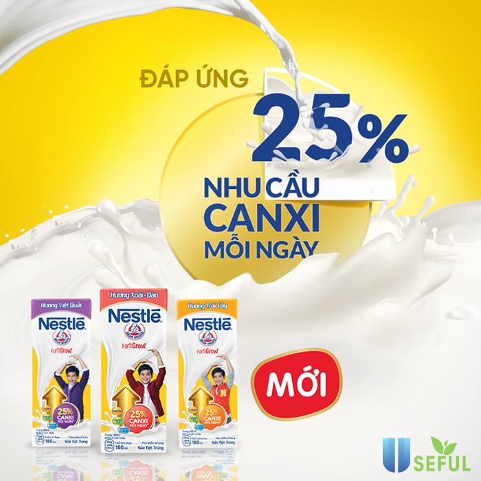 Sản phẩm sữa Nestlé bổ sung canxi và các dưỡng chất cần thiết