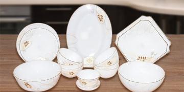 Bộ bát đĩa thủy tinh ngọc kết hợp giữa phong cách Đông - Tây tinh tế