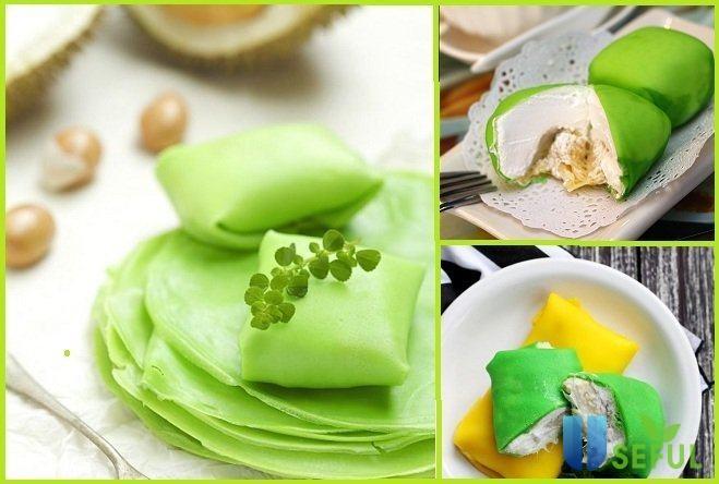 2 cách làm bánh crepe sầu riêng lá dứa nhân kem hương vị khó quên
