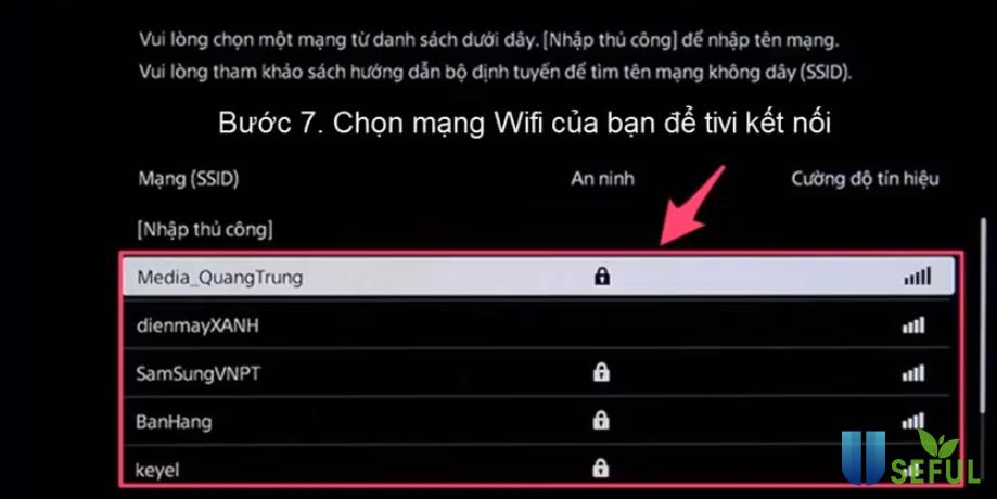 Chọn mạng wifi của bạn để tivi kết nối