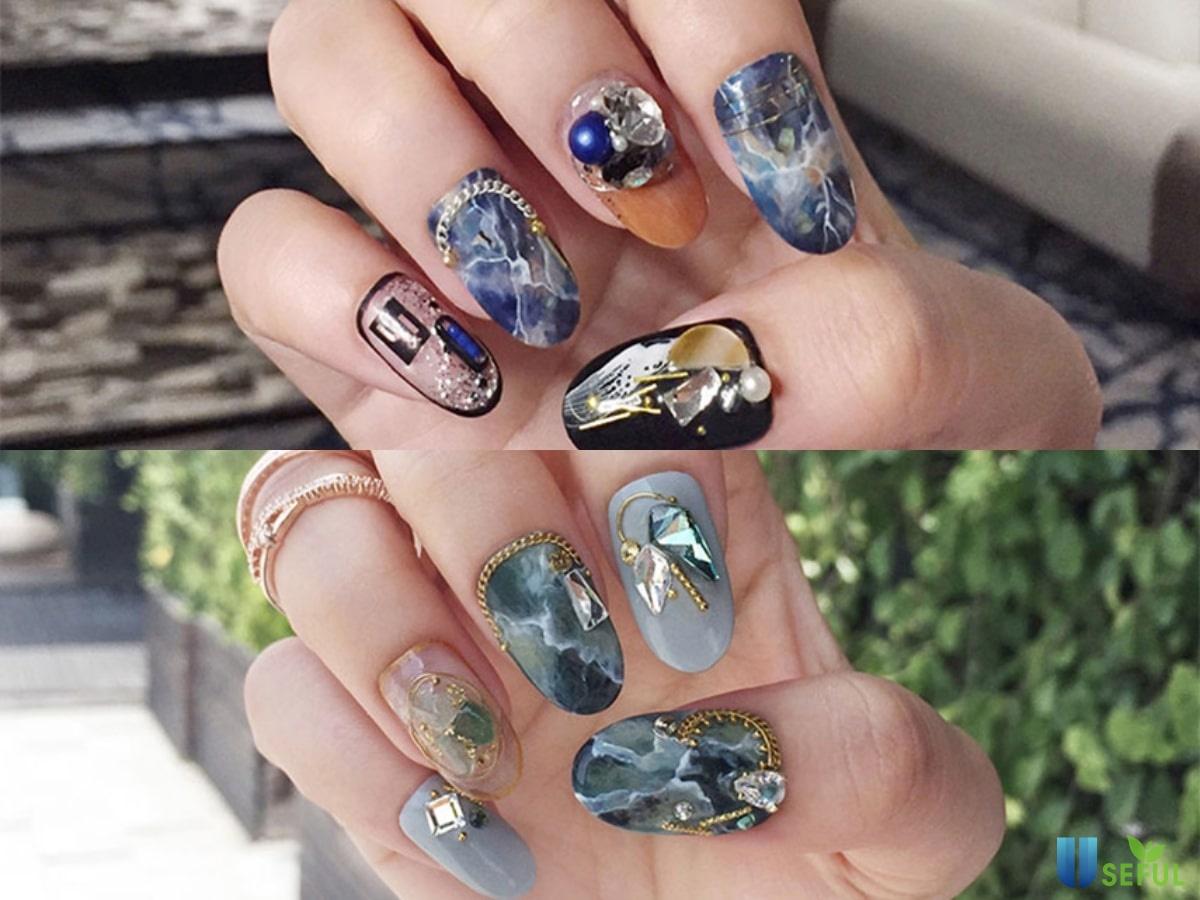mẫu nail vân đá kết hợp đính đá đẹp - Baotrithuc.vn