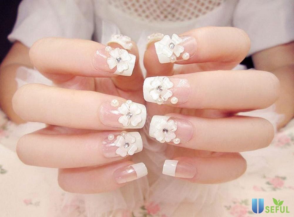 nail đính đá đắp hoa dịu dàng - Baotrithuc.vn