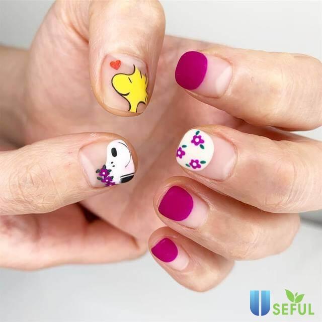 mẫu nail vẽ hoa