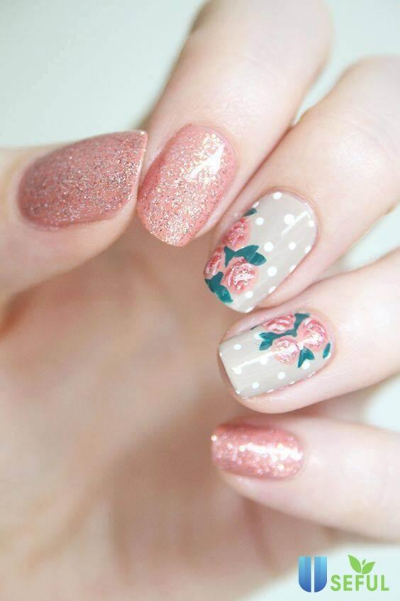 mẫu nail hoa nổi đẹp
