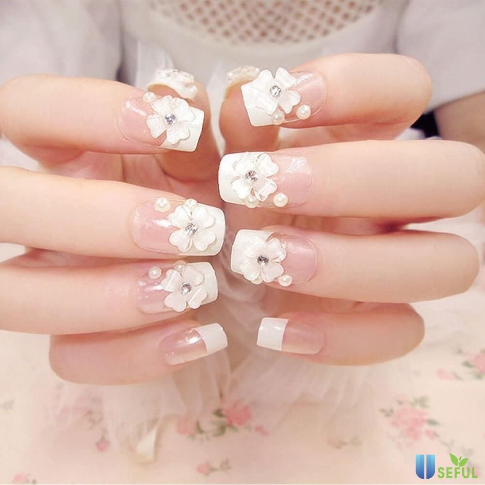 những mẫu nail hoa khô đẹp