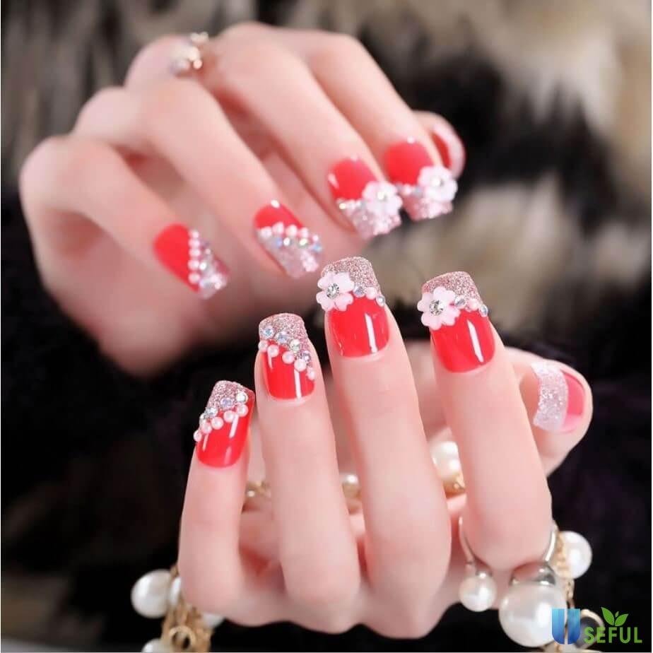 các mẫu nail hoa khô