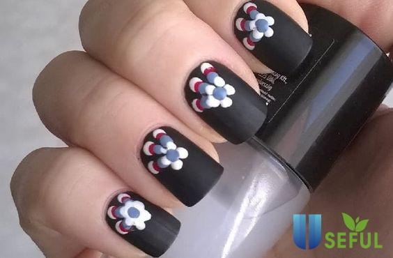 Mẫu nail vẽ hoa hoa cúc độc đáo
