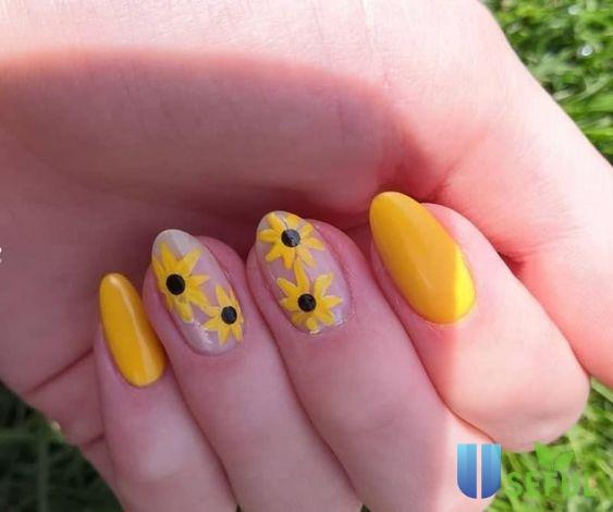 mẫu nail vẽ hoa cúc năng động