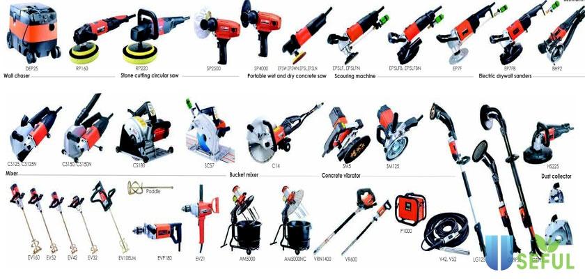 Các cái dụng cụ xây dựng cầm tay trong thi công thường tiêu dùng