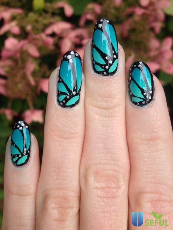 Mẫu nail bướm cực xinh xắn