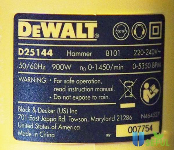 Thông số trên máy khoan bê tông Dewalt D25144KA - Dichvuhay.vn
