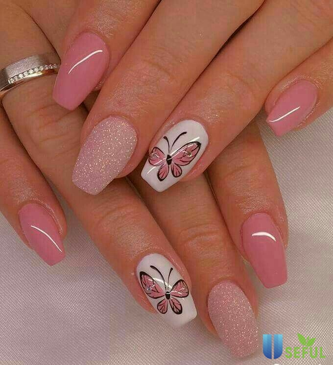 100 Beautiful Butterfly Nail Art Designs and Colors | Floral nails, Butterfly nail art, Butterfly nail designs