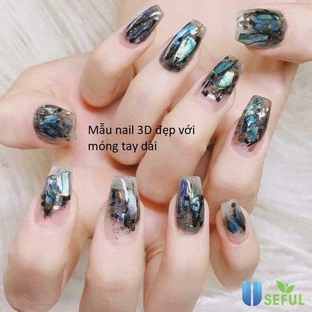 mẫu nail 3d đẹp với móng tay dài