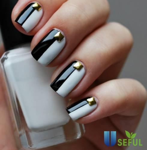 Mẫu nail đen trắng cầu kỳ