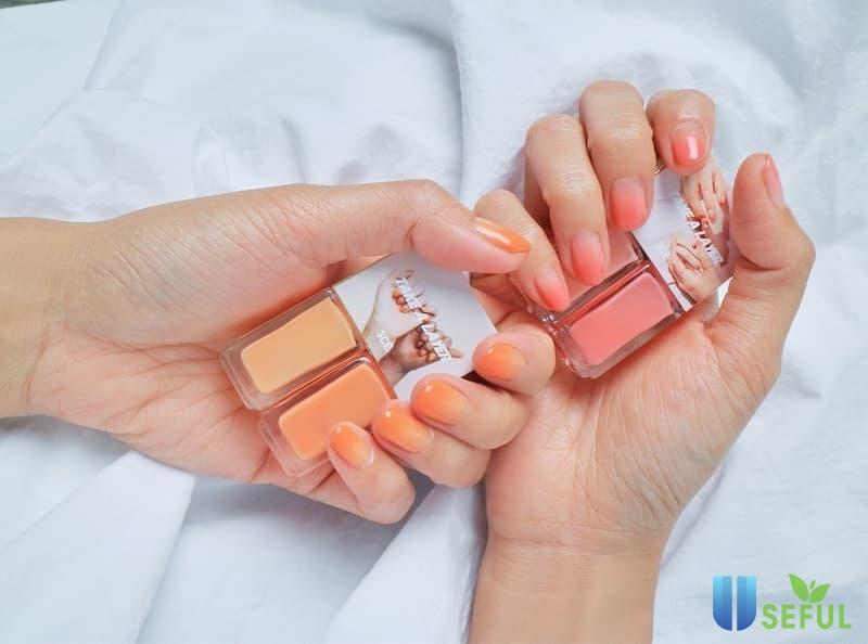 Mẫu nail ombre màu cam cá tính