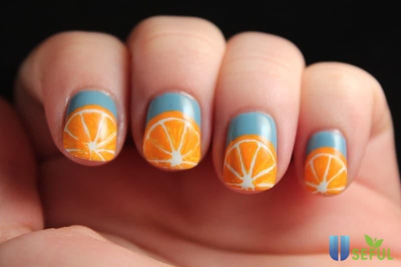 Mẫu nail trái cây hình trái cam Mẫu nail trái cây hình trái cam