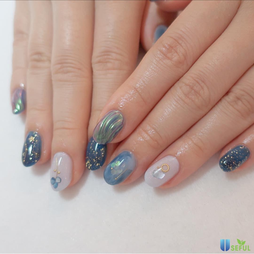 Mẫu nail sơn thạch họa tiết bầu trời