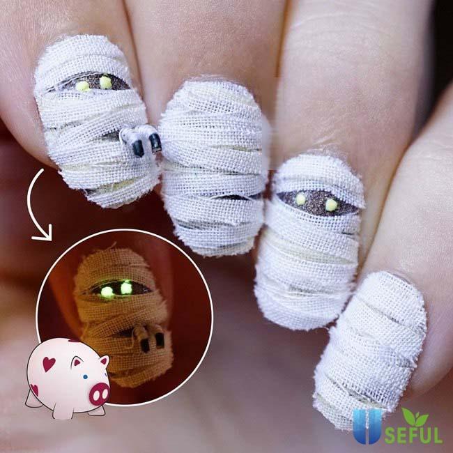 Bộ nail halloween xác ướp