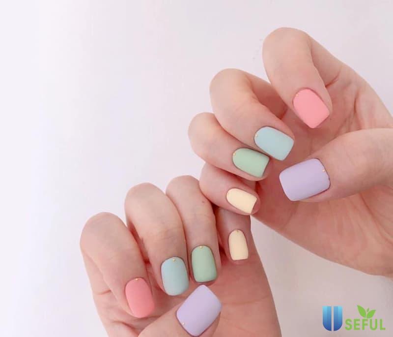 Mẫu nail nhám nhiều màu bắt mắt