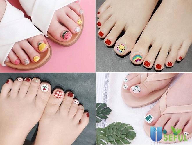 các mẫu nail chân đơn giản