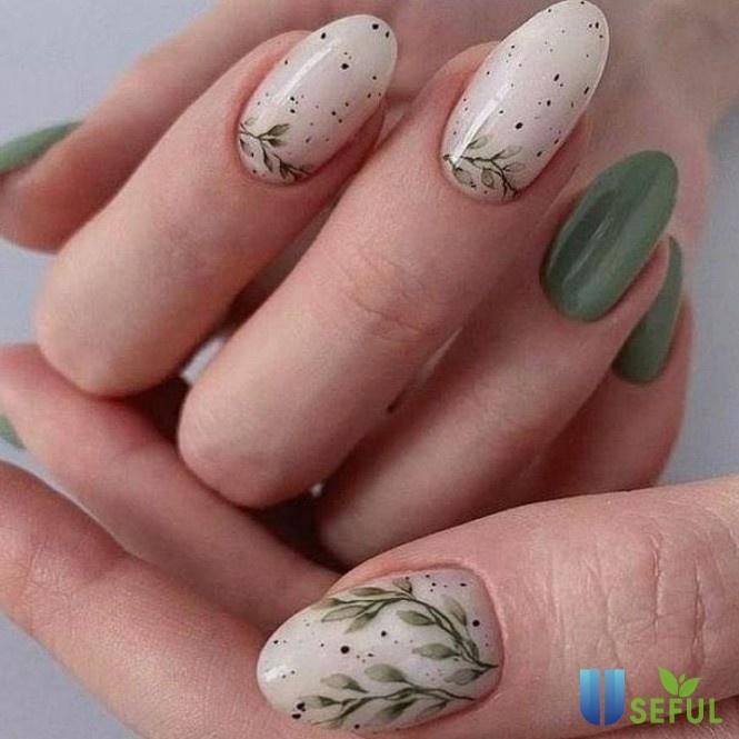 mẫu nail chiếc lá mùa thu cách điệu