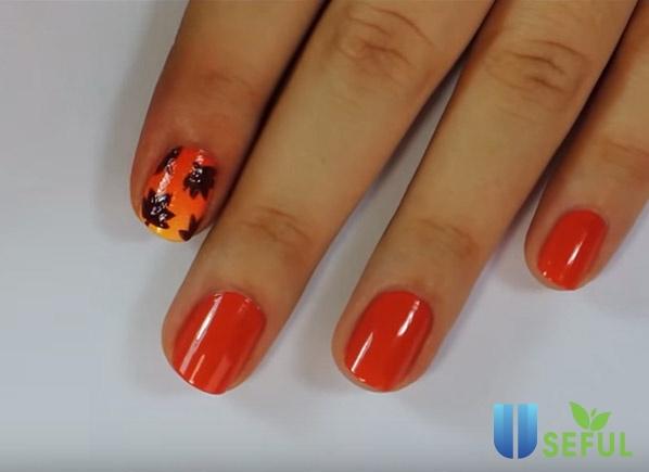Các bước vẽ nail chiếc lá mùa thu đẹp đơn giản
