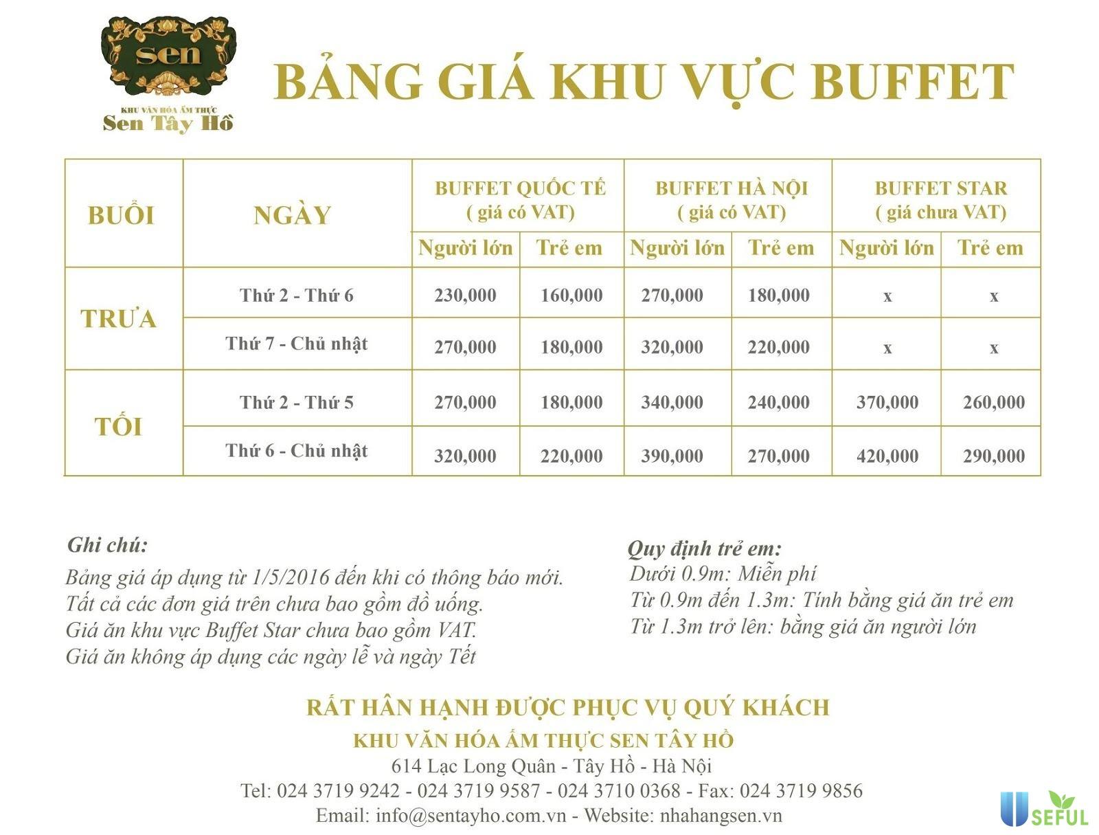 Bảng giá Nhà hàng Buffet Sen Tây Hồ nổi tiếng ở Hà Nội