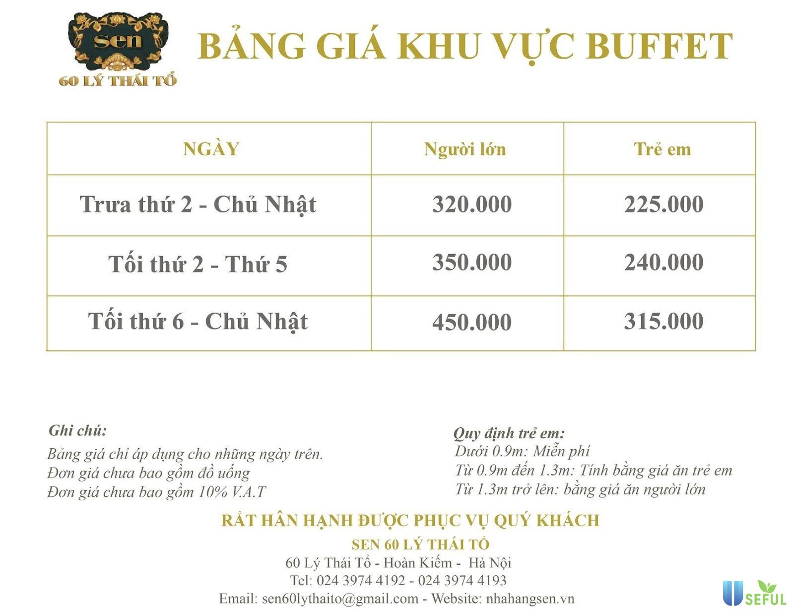 Bảng giá buffet Sen Lý Thái Tổ cho các thực khách