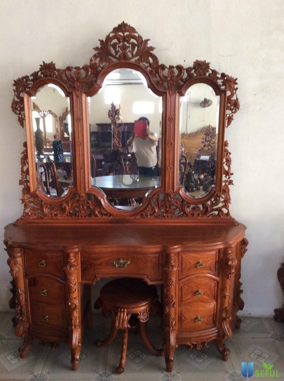 Bàn trang điểm gỗ Đỏ Lào