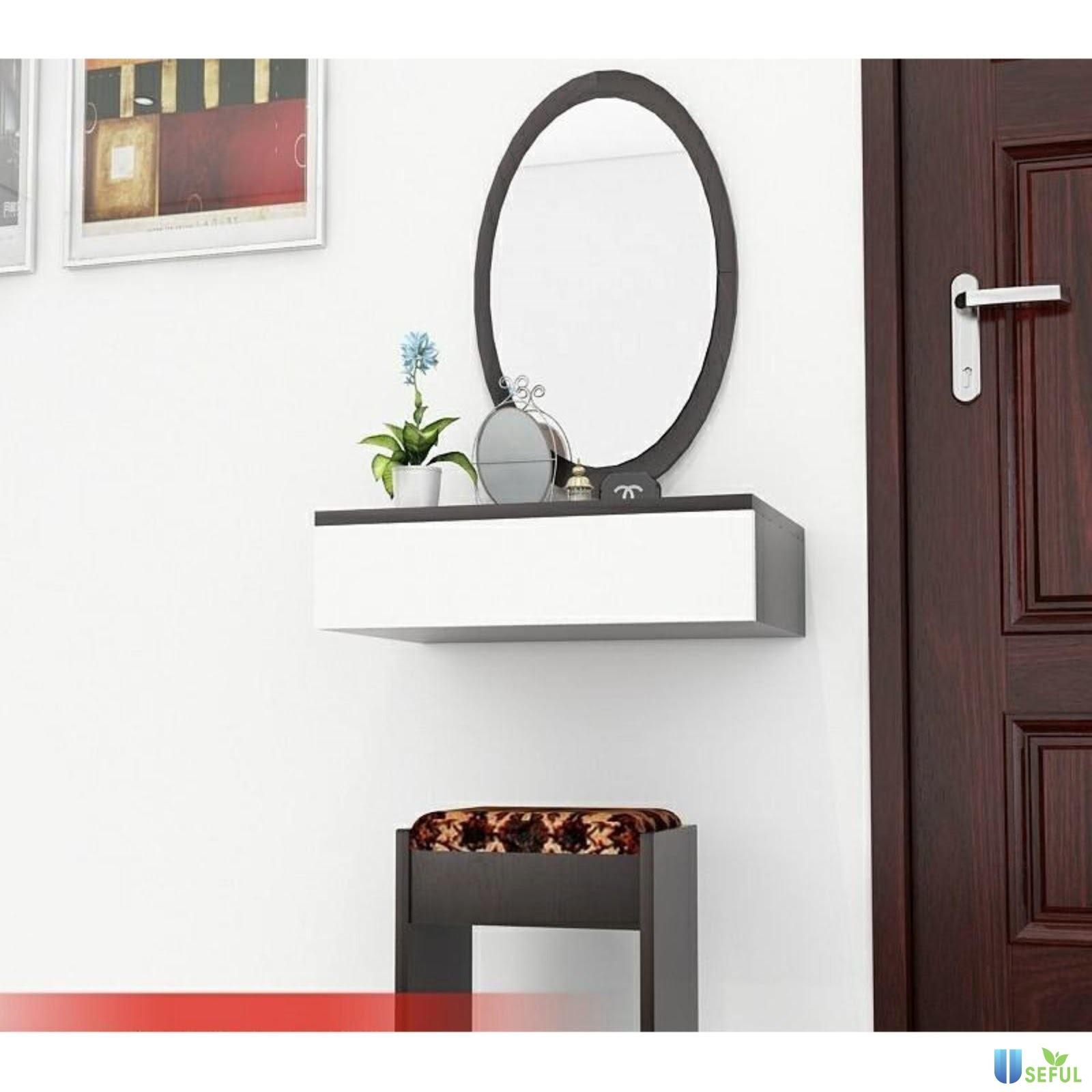 Bàn trang điểm gỗ MDF với kiểu dáng hiện đại, thiết kế màu trắng vừa nhã nhặn vừa xinh xắn