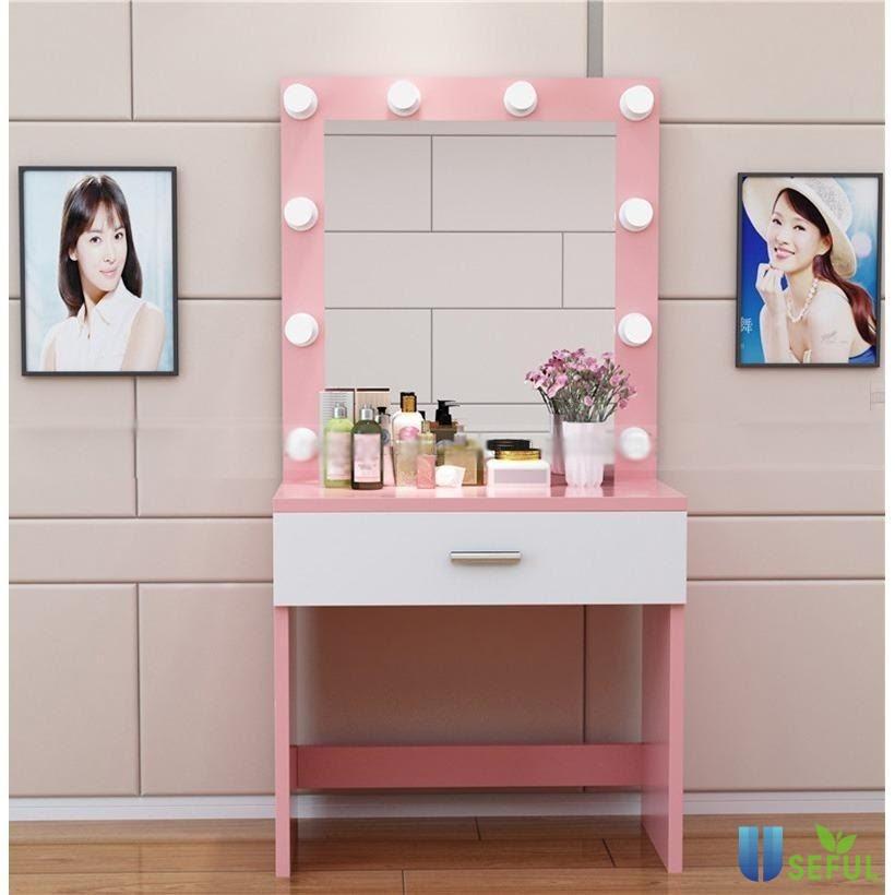 Bàn trang điểm nhựa phong cách Hàn Quốc mẫu 2 kết hợp tông màu trắng và hồng xinh xắn đáng yêu.