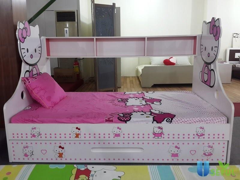 Giường Ngủ Trẻ Em Gỗ Hello Kitty