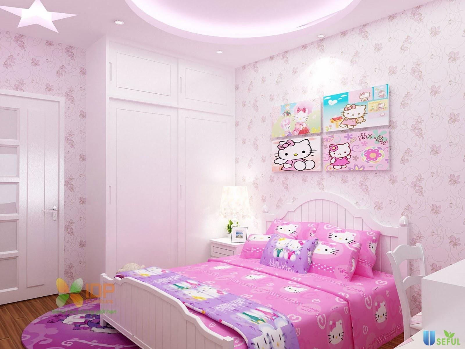 Giường gỗ xinh cho bé gái