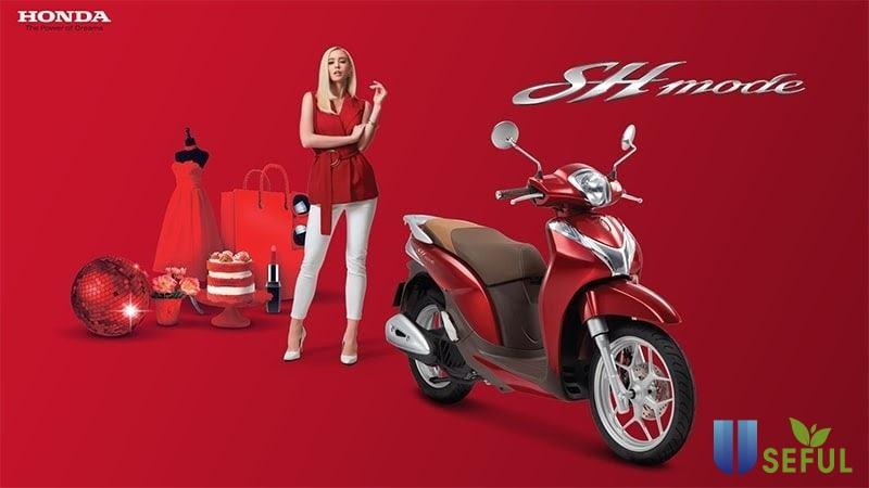 Phong cách thiết kế trẻ trung, hiện đại của SH Mode 2021 màu đỏ